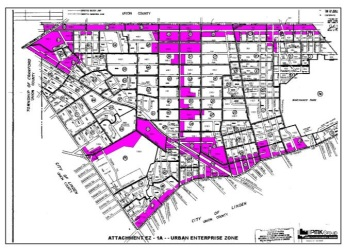 Depicted in pink is the borough's UEZ designation.